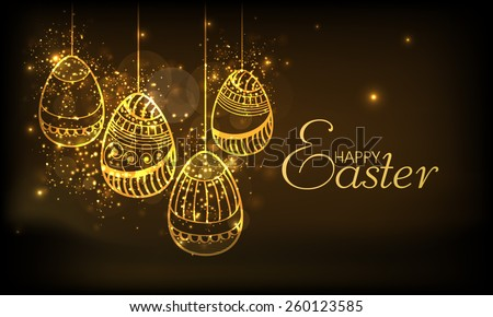 Golden floral design decorated eggs hanging on shiny brown background for Happy Easter celebration. - stock vector