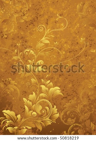Golden floral pattern, grunge textured background. - stock vector
