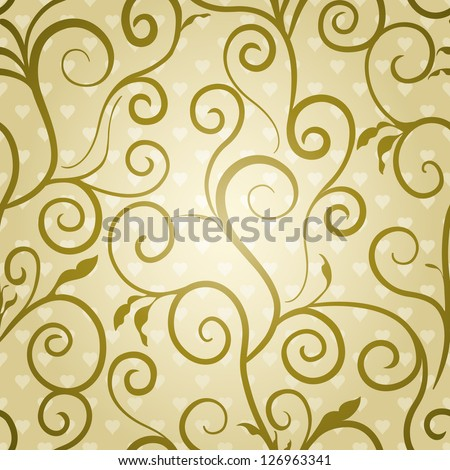 Golden floral wallpaper with elegant swirls and valentines background - stock vector