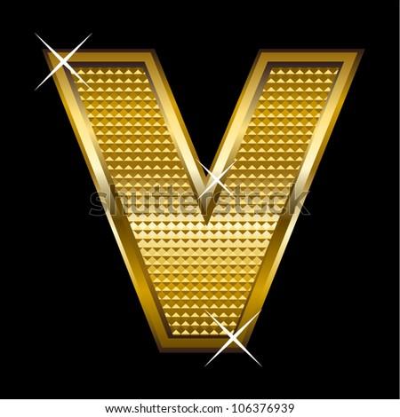 Golden font type letter V - stock vector