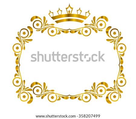 Golden Frame Vector Crown On Top Stock Vector 356146163