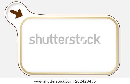 Golden frame for your text and arrow - stock vector
