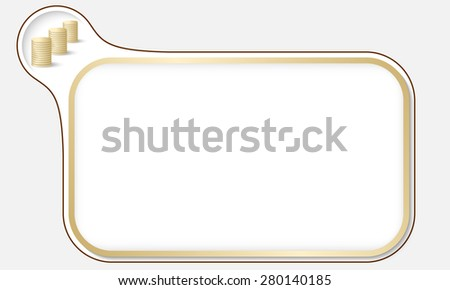 Golden frame for your text and coin - stock vector