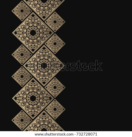 Golden frame oriental style seamless border stock vector 732728071 golden frame in oriental style seamless border for design eastern background islamic card thecheapjerseys Image collections