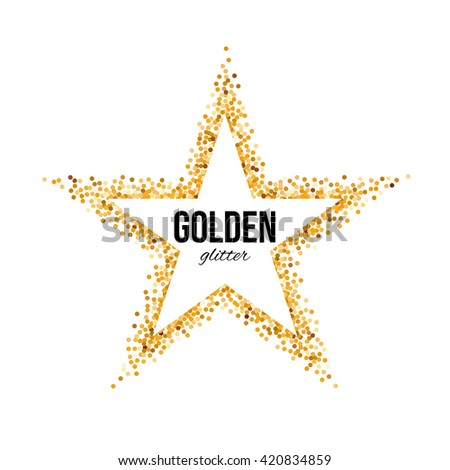Golden Frame in the Form of Star with Text - stock vector