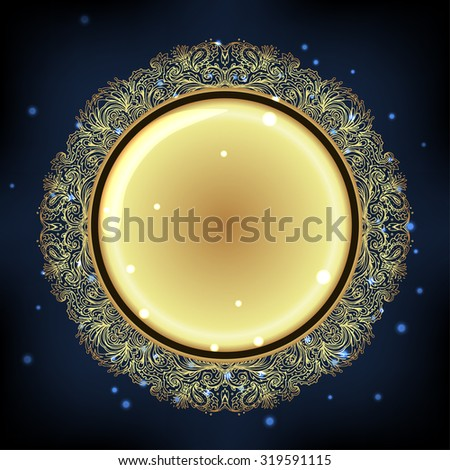 Golden frame mandala symbol. Round Ornament Pattern. Vector isolated illustration. Paisley background. Vintage decorative oriental symbol of harmony, balance. Tattoo, yoga, spirituality, textiles - stock vector
