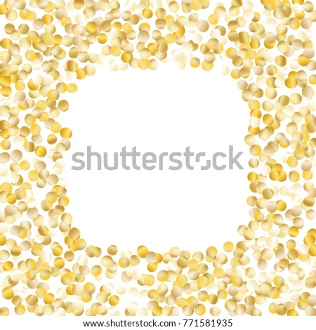 Golden Frame Confetti Isolated On Black Stock Vector - Golden gold birthday invitation background