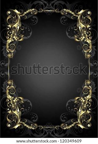 Golden frame on a black background - stock vector