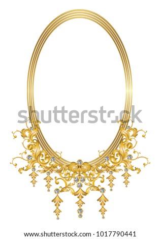 Golden Frame Baroque Elements Decoration Diamonds Stock Vector ...