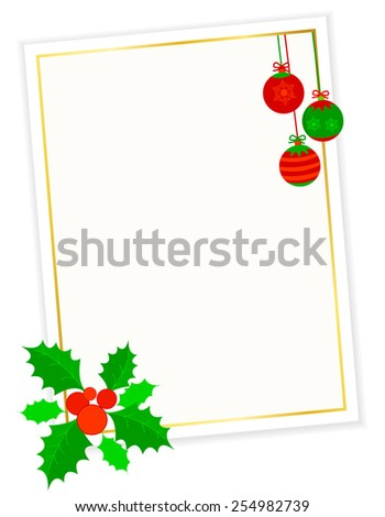 Golden frame with Christmas ornaments and holly, berries - stock vector