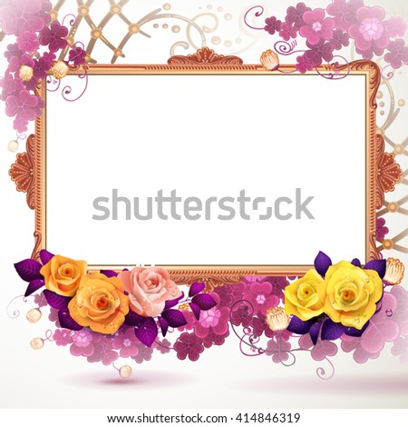 Golden frame with flowers  - stock vector
