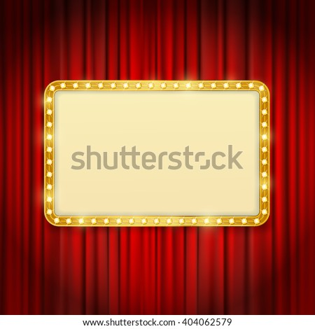 golden frame with light bulbs on red curtains background. vector design template - stock vector