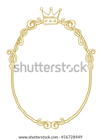 golden frame with ornaments in gold for pictures or mirror - stock vector