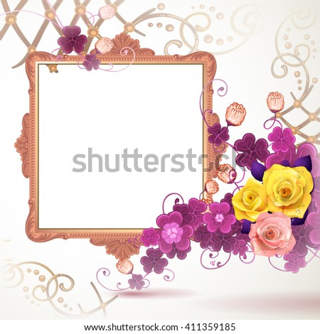 Golden frame with roses on white background - stock vector