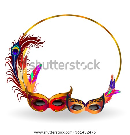 Golden frame with two carnival masks and colorful feathers. - stock vector