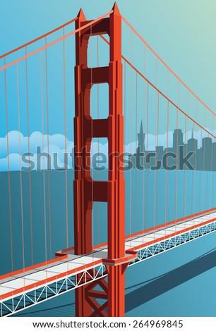 Golden Gate Bridge - stock vector