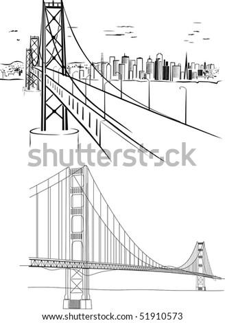 Golden Gate bridge - hand drawing illustrations - stock vector