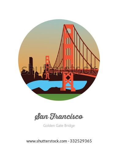 Golden Gate bridge , San Francisco America - stock vector