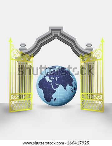 golden gate entrance with Africa earth globe vector illustration - stock vector