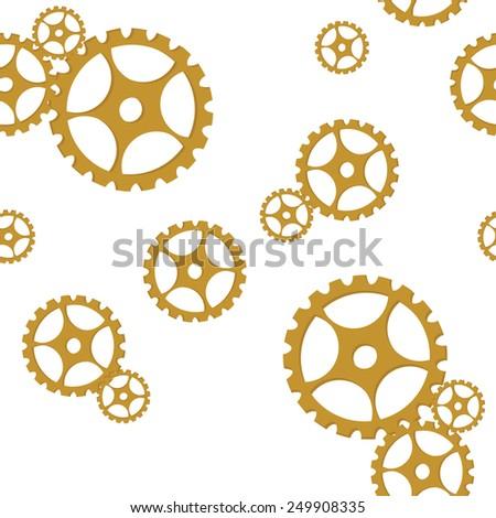 Golden gears seamless pattern vector, industrial design - stock vector