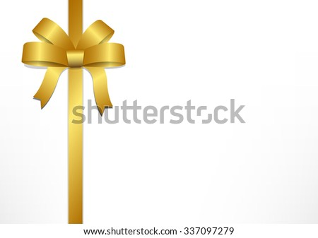Golden gift bows and ribbons on white gift box background for Christmas, New year and Valentine , vector illustration - stock vector