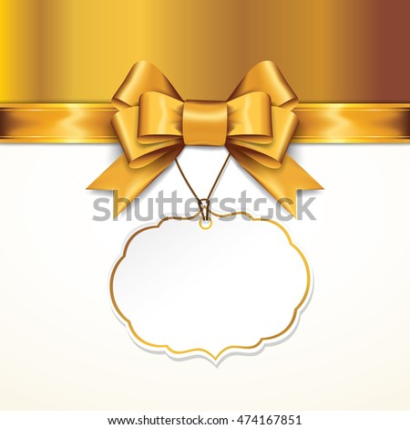 Golden gift bows with ribbons On White Background. Golden Bow with card. Vector Illustration.