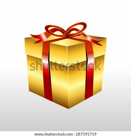 Golden gift box with ribbon illustration. Gold Gift box vector.  - stock vector