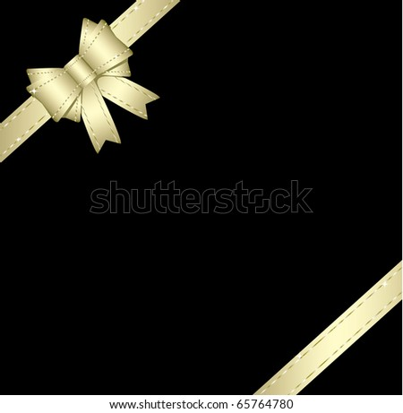 Golden gift ribbon and bow isolated on black(also available jpg version) - stock vector