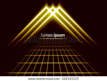 Golden glitter abstract futuristic perspective background with simple arrow logo. Vector illustration - stock vector