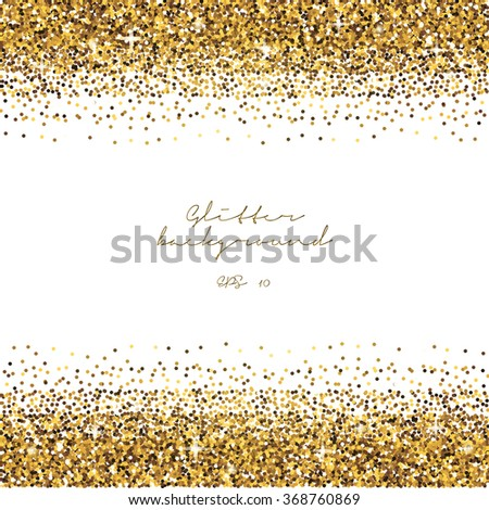 Golden glitter border background. Tinsel shiny backdrop. Luxury gold template. Vector - stock vector