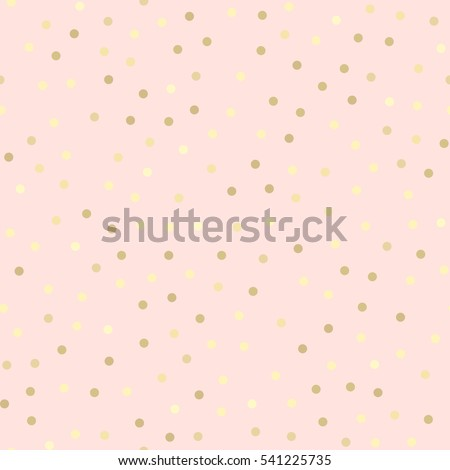 Golden glitter dots, abstract pink background. Seamless vector pattern. Shiny holiday background. Golden circles pattern. Gold metal foil background.
