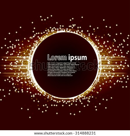 Golden glitter party poster abstract layout with circle surrounded by flare shimmering particle luxurious pattern. Vector illustration - stock vector