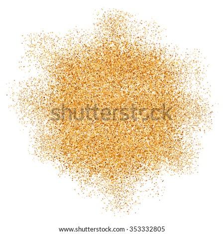 Golden glitter vector texture splash on white background - stock vector