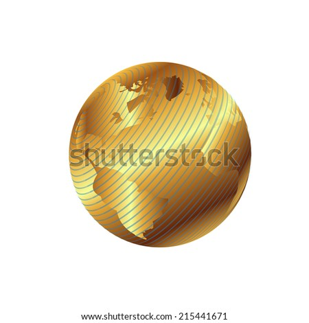Golden globe planet illustration with geographical grid - stock vector