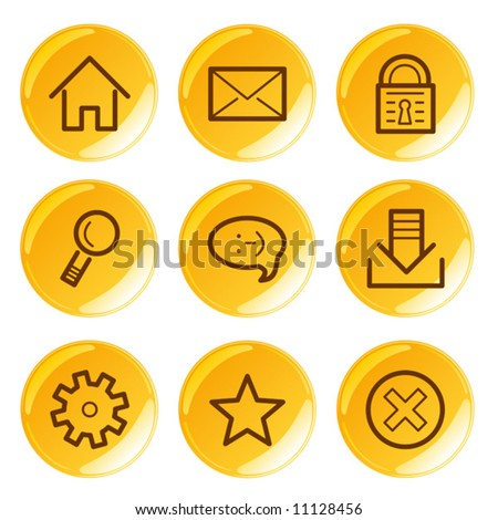 Golden glossy basic icons set. Vector.