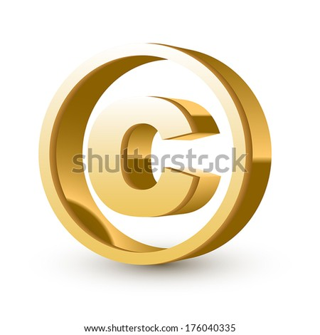golden glossy copyright symbol isolated white background - stock vector