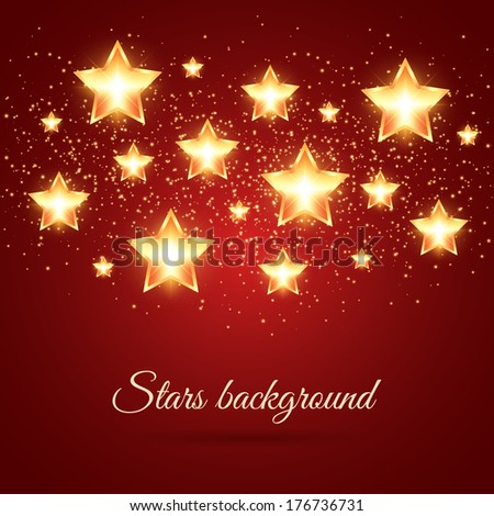 Golden glowing stars background with place for text - stock vector