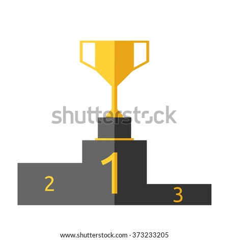 Golden goblet on victory pedestal isolated on white background. Gold trophy on sports podium. Champion cup. Award, triumph, goal, success concept. EPS 8 vector illustration, no transparency - stock vector