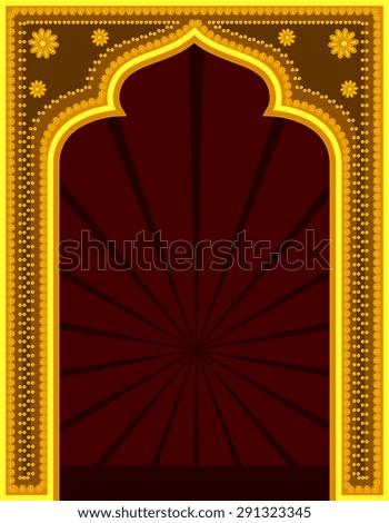 Golden Golden Mythological Retro Frame - stock vector