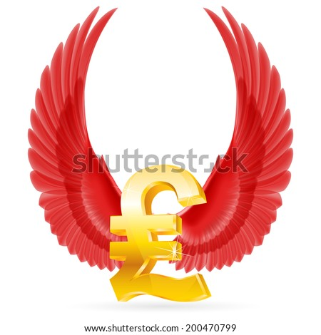 Golden Great Britain pound symbol with red raised up wings - stock vector