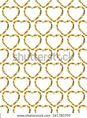 Golden Heart Glitter Background. Seamless pattern. Great design for Valentine's Day