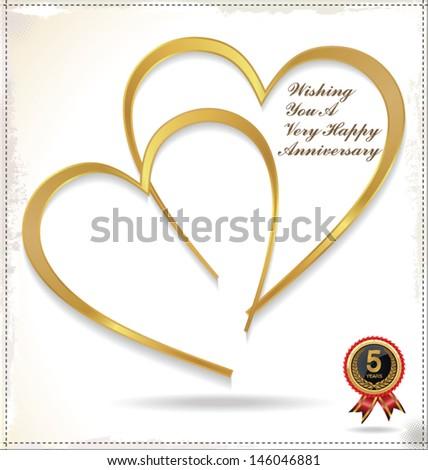 Golden heart - Happy anniversary - stock vector