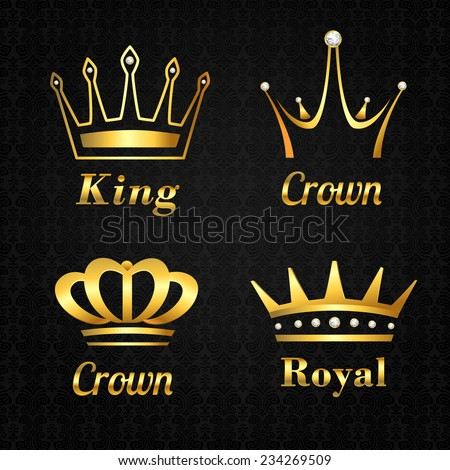 Golden heraldry kings and queen royal crowns set on black background vector illustration - stock vector