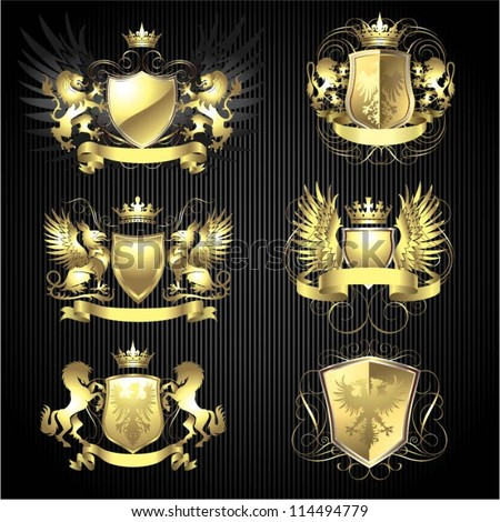 Golden heraldry set - stock vector
