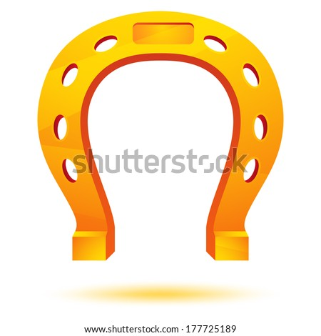 Golden horseshoe isolated on white. Vector - stock vector