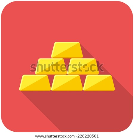 Golden icon icon(flat design with long shadows) - stock vector