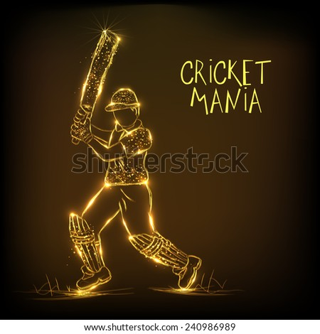 Golden illustration of batsman in playing action for Cricket Mania on brown background. - stock vector