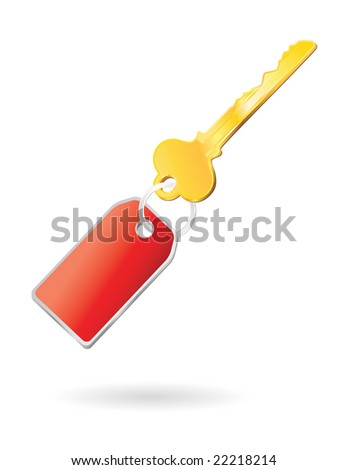 golden key with keychange in red