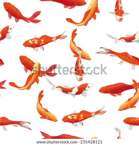 Golden koi fishes seamless vector print - stock vector