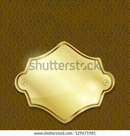 Golden label over leather - stock vector